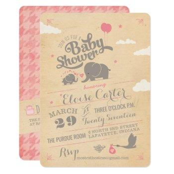 Vintage Pink Elephant Baby Shower Invitations