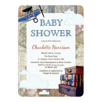 Vintage Planes & Clouds World Travel Baby Shower Invitation