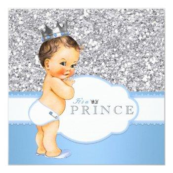 Vintage Prince Baby Shower Blue And Silver Invitation