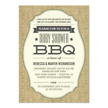 Vintage Rustic Burlap Bbq Baby Shower Invitations