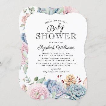 Vintage Succulent Floral Baby Shower
