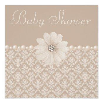 Vintage Taupe Damask, Flowers & Pearls Baby Shower Invitation