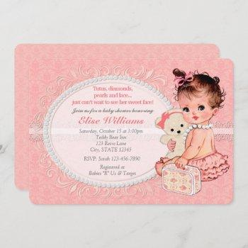 Vintage Teddy Bear Girls Baby Shower Invitations 2