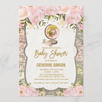 Vintage Travel Baby Girl Shower  Floral