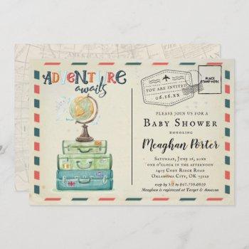 Vintage Travel Themed Baby Shower Invitation