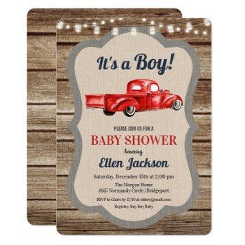 Vintage Truck Boy Baby Shower Invitation