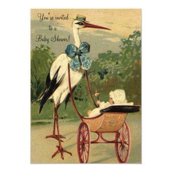 Vintage Victorian Stork Baby Shower Invitation