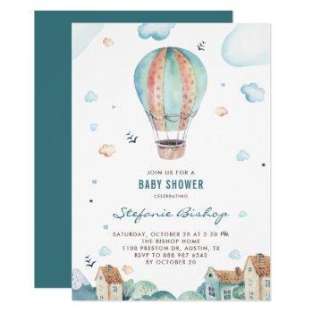 Vintage Watercolor Hot Air Balloon Boy Baby Shower Invitation