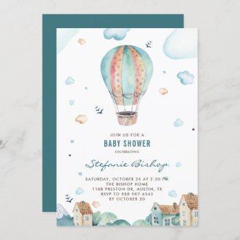 Vintage Watercolor Hot Air Balloon Boy Baby Shower