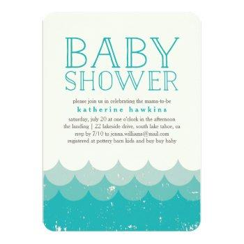 Vintage Waves Beach Baby Shower Invitation