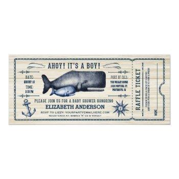 Vintage Whale, Baby Shower Ticket Invitation