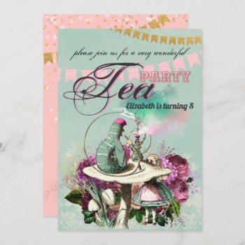 Vintage Wonderland Tea Party Alice Pink Gold Invitation