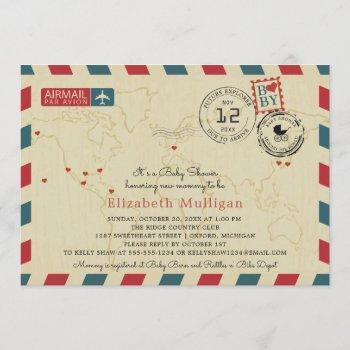 Vintage World Traveler Airmail Baby Shower Invitation