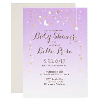 Violet Moon Star Girl Baby Shower Invite