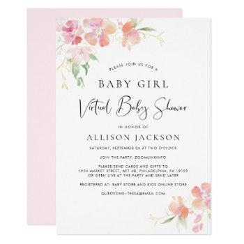 Virtual Baby Girl Shower   Pink Coral Gold Floral Invitation