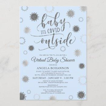 Virtual Baby Shower Baby Its Covid Outside Blue Invitation