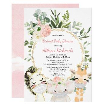 Virtual Baby Shower Blush Pink Gold Floral Animals Invitation