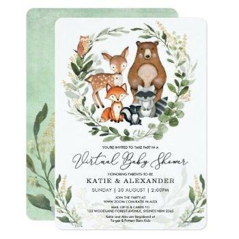 Virtual Baby Shower By Mail   Greenery Woodland Invitation