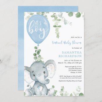Virtual Baby Shower Elephant Blue Balloons Boy Invitation