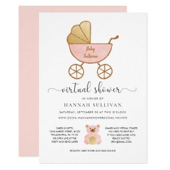 Virtual Baby Shower Girl Retro Carriage Pink Gold Invitation