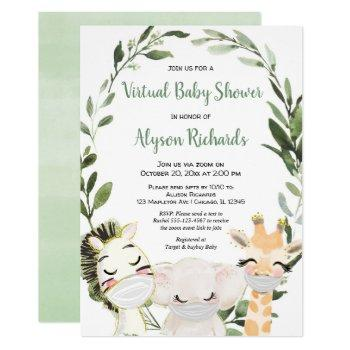 Virtual Baby Shower Greenery Animals With Masks Invitation