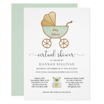 Virtual Baby Shower | Retro Carriage Green Gold Invitation