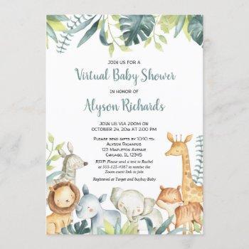 Virtual Baby Shower Safari Animals Gender Neutral Invitation