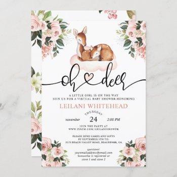 Virtual Oh Deer Baby Shower Watercolor Floral Invitation