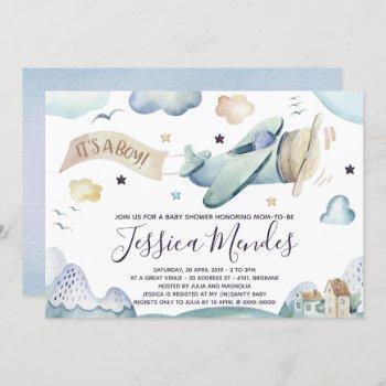 Watercolor Airplane Baby Boy Shower Invitation