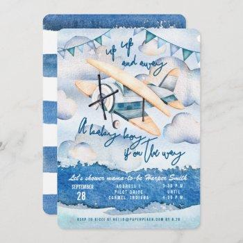 Watercolor Airplane Baby Boy Shower
