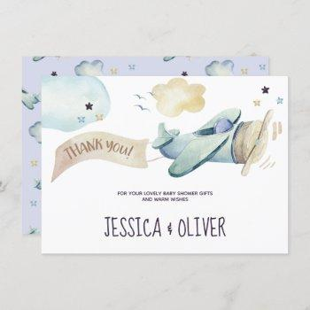 Watercolor Airplane Party In Blue Thank You Card