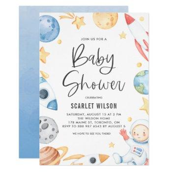 Watercolor Baby Astronaut Space Theme Baby Shower Invitation