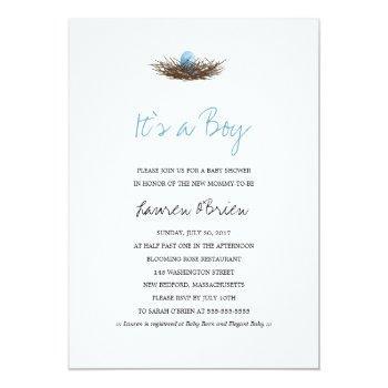 Watercolor Baby Boy Bird's Nest Baby Shower Invitation