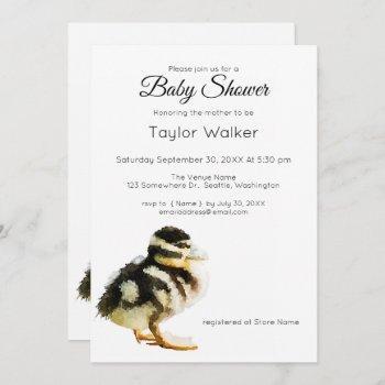 Watercolor Baby Duck  Baby Shower  Invitation