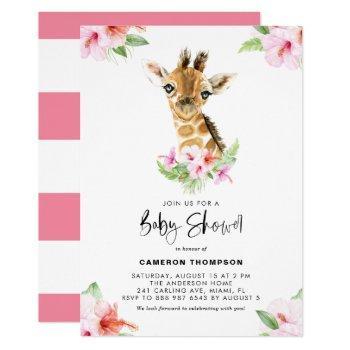 Watercolor Baby Giraffe Pink Hibiscus Baby Shower Invitation