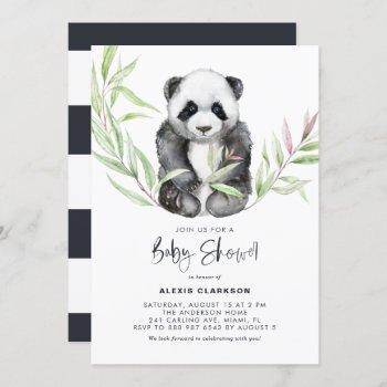 Watercolor Baby Panda With Greenery Baby Shower Invitation