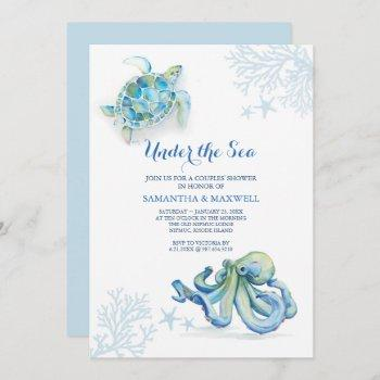 Watercolor Baby Shower Invitation Under The Sea