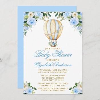 Watercolor Blue Floral Hot Air Balloon Baby Shower