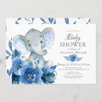 Watercolor Blue Flowers Elephant Baby Shower Invitation