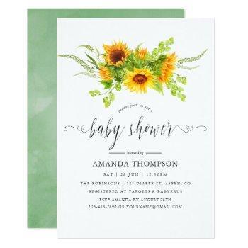 Watercolor Bohemian Boho Sunflowers Baby Shower Invitation