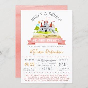 Watercolor Books & Brunch | Red Unisex Baby Shower Invitation
