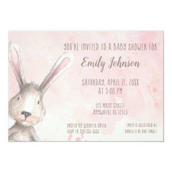 Watercolor Bunny Rabbit Personalized Baby Shower Invitation
