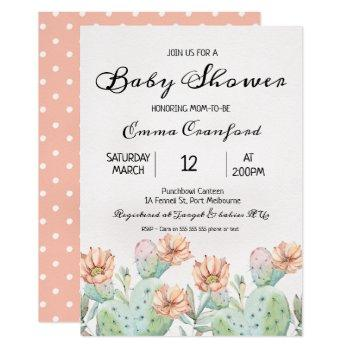 Watercolor Cactus Neutral Baby Shower Invitation