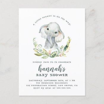 Watercolor Elephant Gender Neutral Baby Shower Invitation Postcard