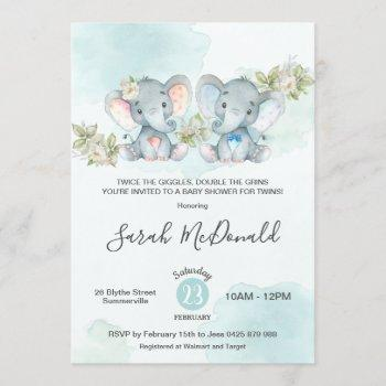 Watercolor Elephant Twins Boy Girl Baby Shower Invitation