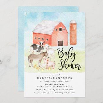 Watercolor Farm Animals   Baby Shower Invitation