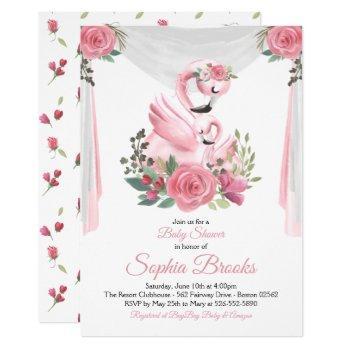 Watercolor Flamingo Baby Shower Invitation