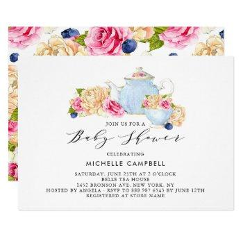 Watercolor Floral Baby Shower Tea Party Invitation