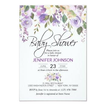 Watercolor Floral Lavender Purple Baby Shower Invitation