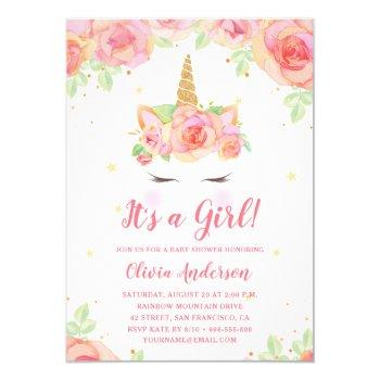 Watercolor Floral Magical Unicorn Girl Baby Shower Invitation